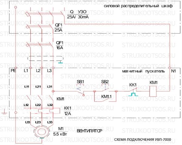Схема подключения УВП-7000 КОНСАР